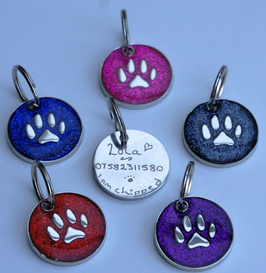 Id Tag Hand Engraved Glitter & Paw Print Choice of Colour, same day dispatch.